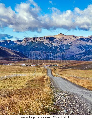 The road to the Argentine lake and the amazing glacier Perito Moreno.  Argentine Province of Santa Cruz. The concept of active and ecological tourism