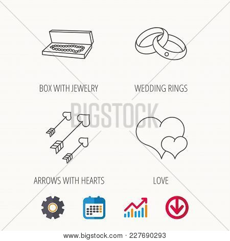Love Heart, Jewelry And Wedding Rings Icons. Arrows With Hearts Linear Sign. Calendar, Graph Chart A