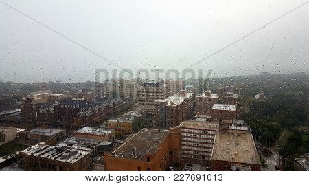 Aerial Elevated View Above A Cloudy Rainy Day In Evanston, Illinois Looking Through A Rain Covered W