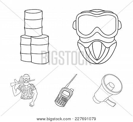 Equipment, Mask, Barrel, Barricade .paintball Set Collection Icons In Outline Style Vector Symbol St
