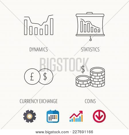 Banking, Cash Money And Statistics Icons. Dynamics, Currency Exchange Linear Signs. Calendar, Graph