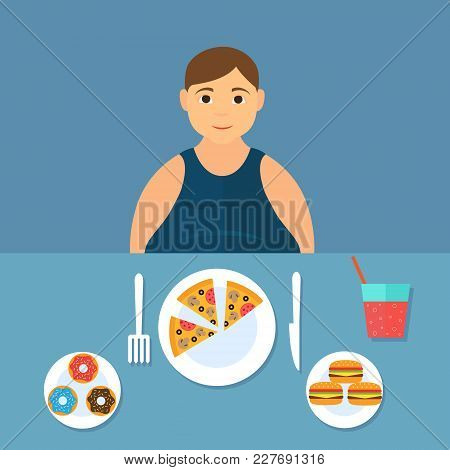 Man At The Table Eating Fast Food. Vector Illustration In Flat Design