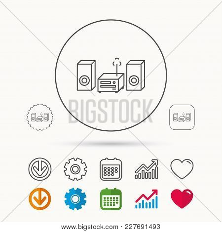 Music Center Icon. Stereo System Sign. Calendar, Graph Chart And Cogwheel Signs. Download And Heart