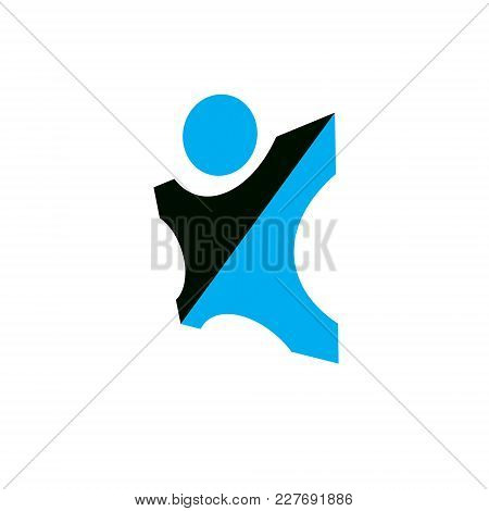 Vector Illustration Of Happy Abstract Human With Reaching Up. Liberty Conceptual Logo. Happiness Met