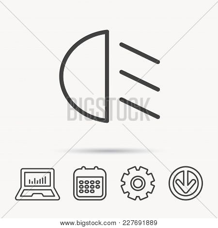 Passing Light Icon. Dipped Beam Sign. Notebook, Calendar And Cogwheel Signs. Download Arrow Web Icon