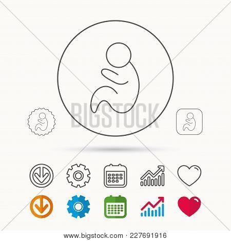 Baby Infant Icon. Pediatrics Sign. Newborn Child Symbol. Calendar, Graph Chart And Cogwheel Signs. D