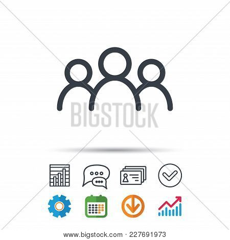 People Icon. Group Of Humans Sign. Team Work Symbol. Statistics Chart, Chat Speech Bubble And Contac
