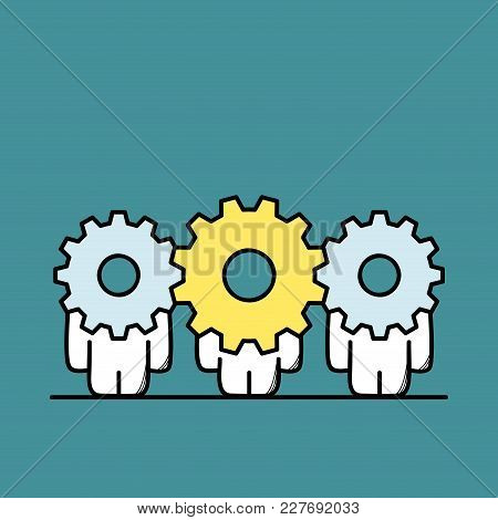 Funny Cute Men With Gear Wheels Or Pinions Instead Of The Heads. Leader Or Chief With Team, Leadersh
