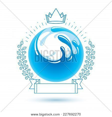 Ocean Freshness Theme Vector Symbol For Use In Spa And Resort Organizations. Body Cleansing Concept.