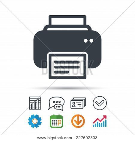 Printer Icon. Print Documents Technology Symbol. Statistics Chart, Chat Speech Bubble And Contacts S