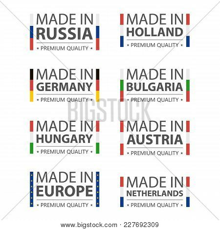 Simple Vector Logos Made In Germany, Russia, Hungary, Holland, Bulgaria, Austria, Nederland And Made