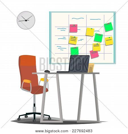 Planning Board Vector. Agile Board. Tasks For Team Development. Full Of Tasks. Flat Illustration