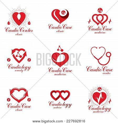Red Heart Shapes Made Using Ecg Charts And Caring Hands. Set Of Cardiovascular System Diseases Remed