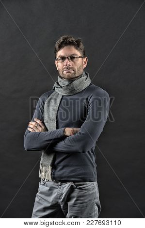 Man In Scarf And Sweater With Folded Hands. Businessman In Glasses On Bearded Face. Vision, Business