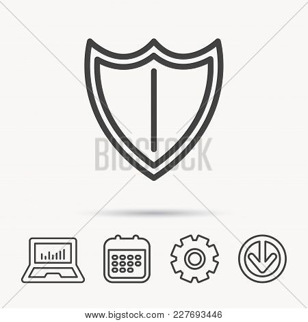 Shield Icon. Protection Sign. Royal Defence Symbol. Notebook, Calendar And Cogwheel Signs. Download