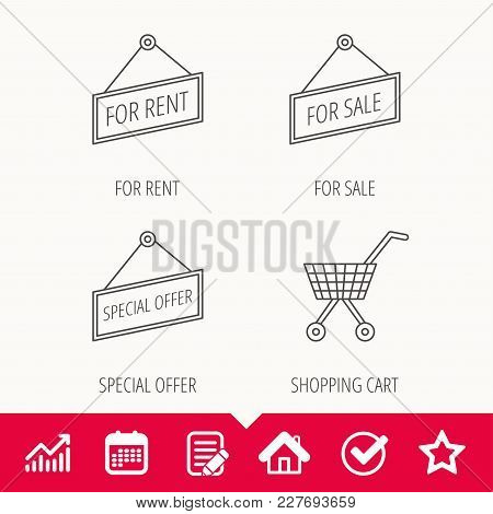Shopping Cart, For Rent And Special Offer Icons. For Sale Linear Sign. Edit Document, Calendar And G