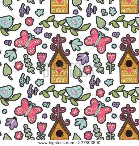 Seamless Spring Ornate Vector Pattern With Butterflies, Birds, Bird Feeders, Leafs And Flowers.