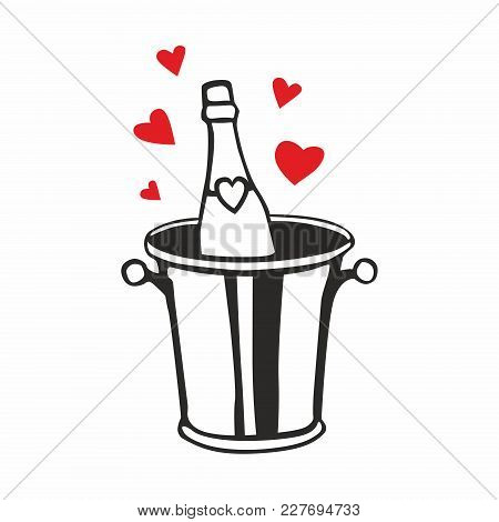 Vector Icon For Champagne Bottle In Cooler Bucket With Ice On White Background