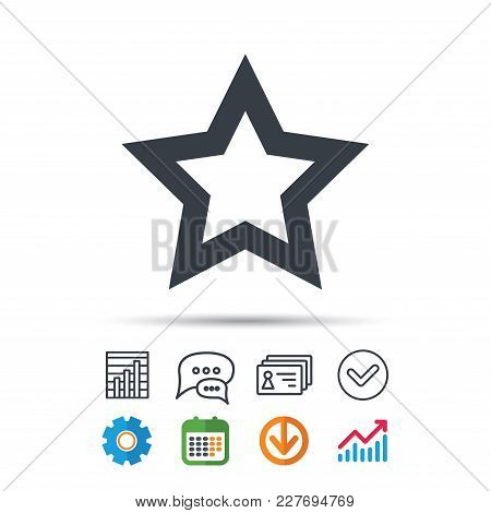 Star Icon. Favorite Or Best Sign. Web Ranking Symbol. Statistics Chart, Chat Speech Bubble And Conta