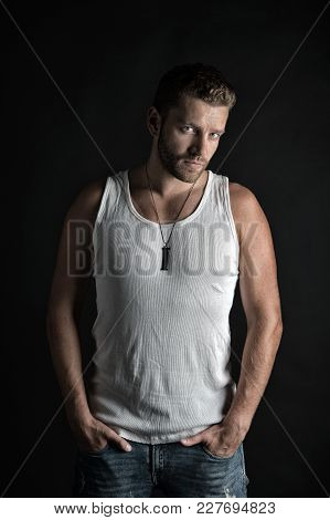 Handsome Mucho Guy In Vest. Fashion Model On Grey Background. Style And Look, Barber. Man With Unsha