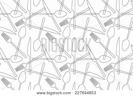Cutlery Icon Seamless Pattern Background. Fork, Knife And Spoon Silhouettes On White Background
