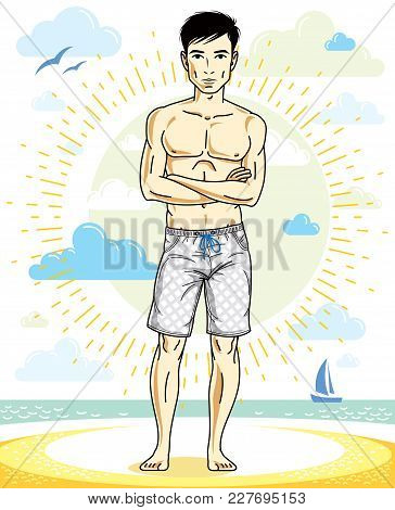Handsome Man Posing On Tropical Beach In Colorful Shorts. Vector Character. Summer Holidays Theme.