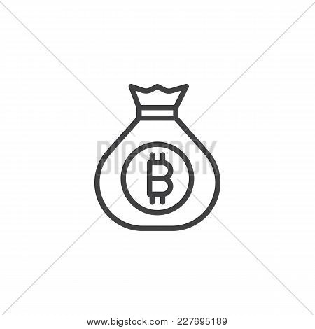 Bitcoin Money Bag Outline Icon. Linear Style Sign For Mobile Concept And Web Design. Cryptocurrency