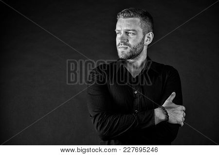 Fashion, Style, Accessory. Man With Bearded Face And Stylish Hair On Dark Background. Barbershop, Ma