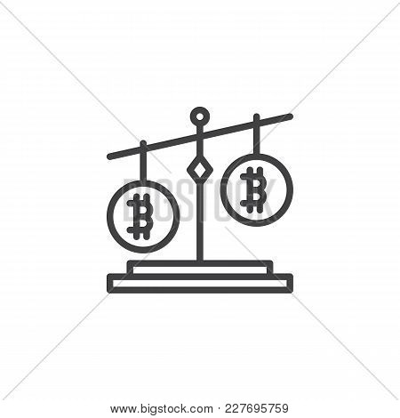 Bitcoin Balance Outline Icon. Linear Style Sign For Mobile Concept And Web Design. Cryptocurrency St
