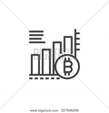 Bitcoin Growing Graph Chart Outline Icon. Linear Style Sign For Mobile Concept And Web Design. Crypt