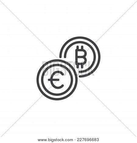 Euro And Bitcoin Currency Exchange Outline Icon. Linear Style Sign For Mobile Concept And Web Design