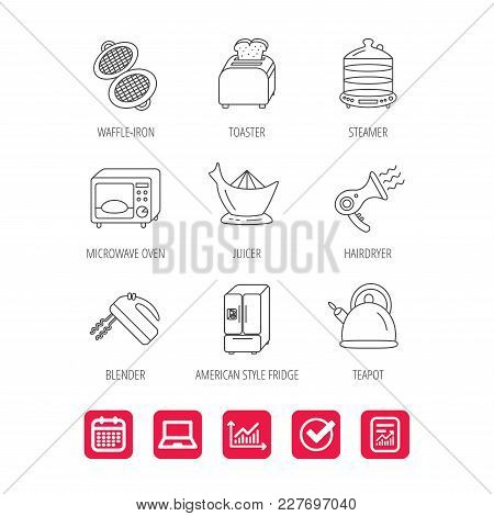 Microwave Oven, Teapot And Blender Icons. Refrigerator Fridge, Juicer And Toaster Linear Signs. Hair