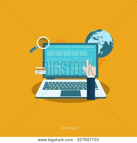 Pay Per Click Concept. Flat Vector Illustration With Laptop And Pointer.