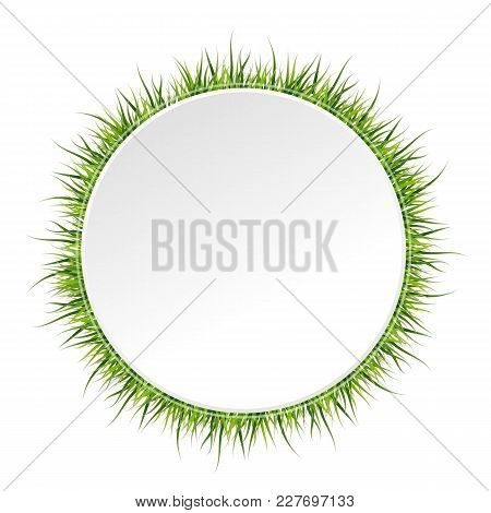 Spring Banner With Grass Border Around. Vector Illustration On White Background.