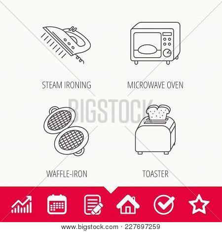 Microwave Oven, Waffle-iron And Toaster Icons. Steam Ironing Linear Sign. Edit Document, Calendar An