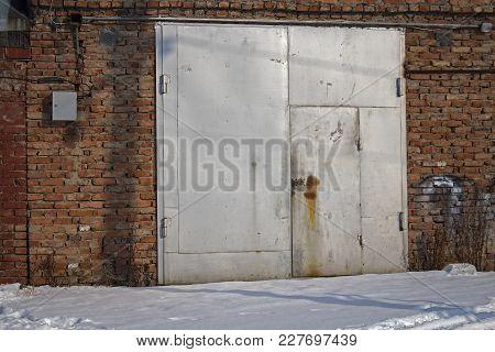 Old Metal Garage Door. Garage Door. Metal Door.