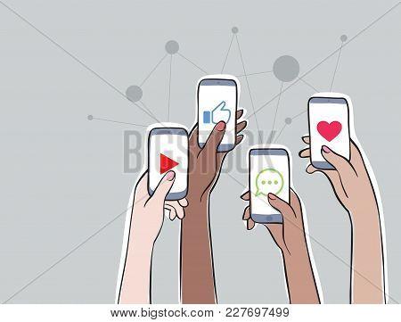 Women Connection - Trending Topics On Social Media Women On Social Network. Hands Holding Smartphone