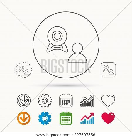 Video Chat Icon. Webcam Chatting Sign. Web Conference Symbol. Calendar, Graph Chart And Cogwheel Sig