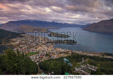 Queenstown, New Zealand - Circa May 2015: Aerial View Of Queenstown And Lake Wakatipu During Blue Ho