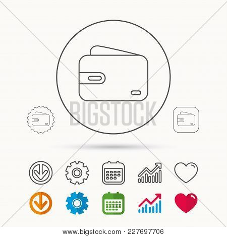 Wallet Icon. Cash Money Bag Sign. Calendar, Graph Chart And Cogwheel Signs. Download And Heart Love