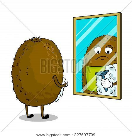 Kiwi Fruit Shaves In Front Of Mirror Pop Art Retro Vector Illustration. Cartoon Food Character. Isol