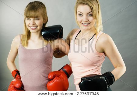 Friendship, Human Relations Concept. Two Happy Women Friends Having Fun Smiling With Joy Wearing Box