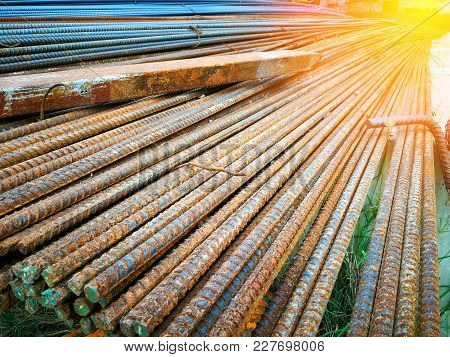 Steel Rebars For Construction Is Rust, Rebar For Construction.