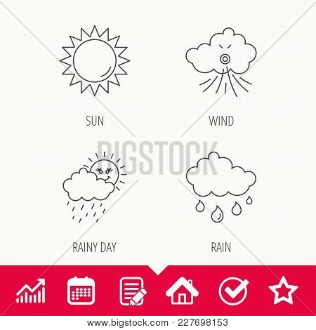 Weather, Sun And Wind Icons. Rainy Day Linear Sign. Edit Document, Calendar And Graph Chart Signs. S