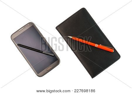 A Smartphone With A Stylus Pen And A Black Notebook With Red Pen On White Background