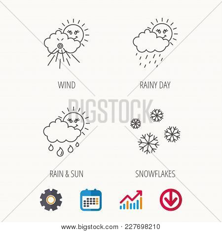 Snowflakes, Sun And Rain Icons. Wind Linear Sign. Calendar, Graph Chart And Cogwheel Signs. Download