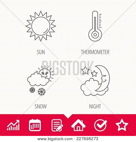 Thermometer, Sun And Snow Icons. Moon Night Linear Sign. Edit Document, Calendar And Graph Chart Sig