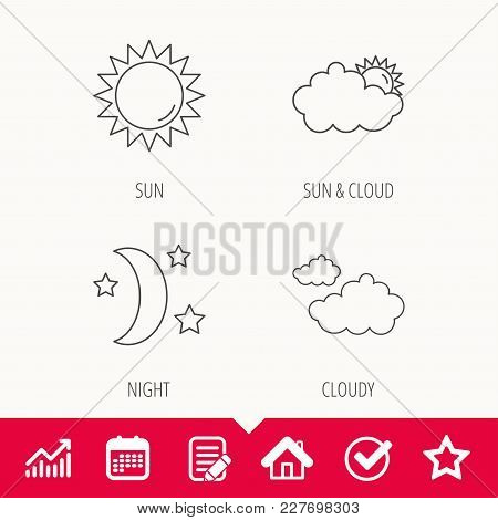 Weather, Sun And Cloudy Icons. Moon Night Linear Sign. Edit Document, Calendar And Graph Chart Signs