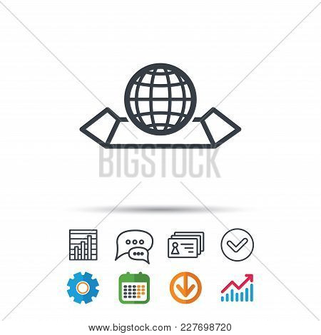 World Map Icon. Globe Sign. Travel Location Symbol. Statistics Chart, Chat Speech Bubble And Contact