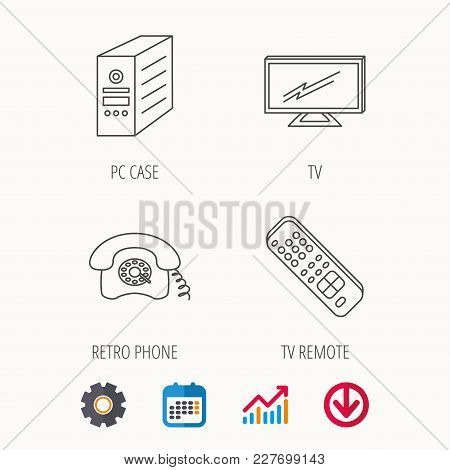 Tv Remote, Retro Phone And Tv Remote Icons. Widescreen Tv Linear Sign. Calendar, Graph Chart And Cog